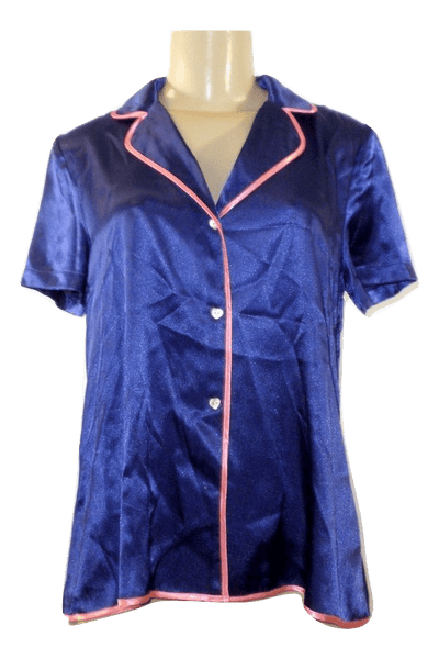 Betsey Johnson Blue Silk Pajama Top - Size Small - The Fashion Foundation