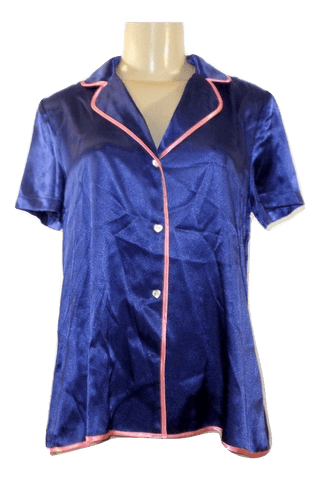Betsey Johnson Blue Silk Pajama Top - Size Small - Donated From The Designer