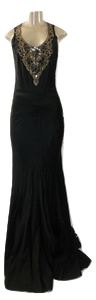 Lafayette 148 Black Gown With Embellished Detailing On Front- Size 2 - The Fashion Foundation