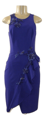Marchesa Notte Purple Floral Embroidered Dress - Size Small - Donated From The Designer