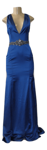 Marchesa Notte Blue Gown With Jewel Detailing- Size Small - The Fashion Foundation