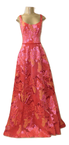 Marchesa Notte Orange Floral Gown With Slit In Front- Size Small- Donated By The Designer - The Fashion Foundation