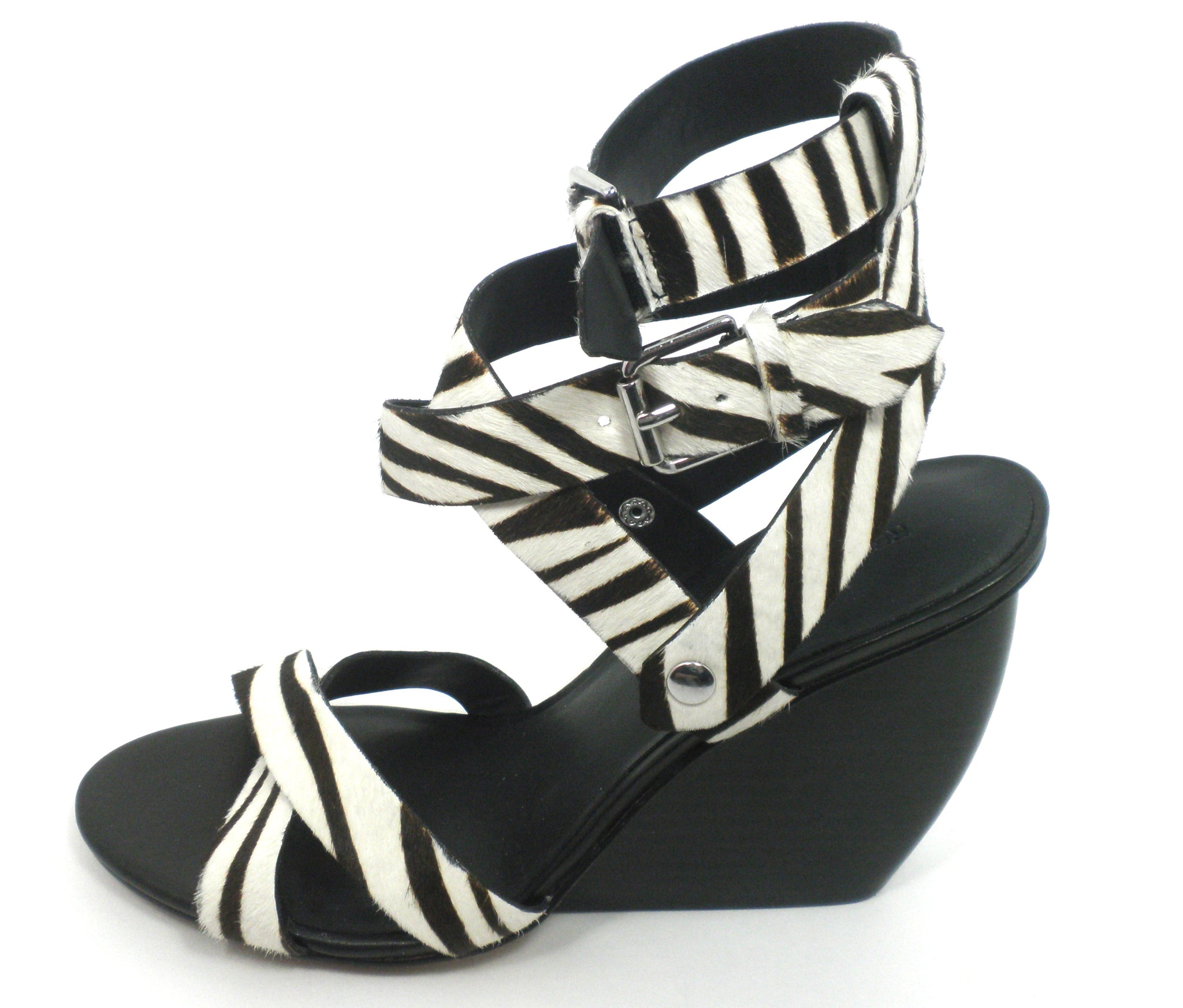 Rebecca Minkoff Black And White Zebra Wedge - Size 7 - Donated From The Designer