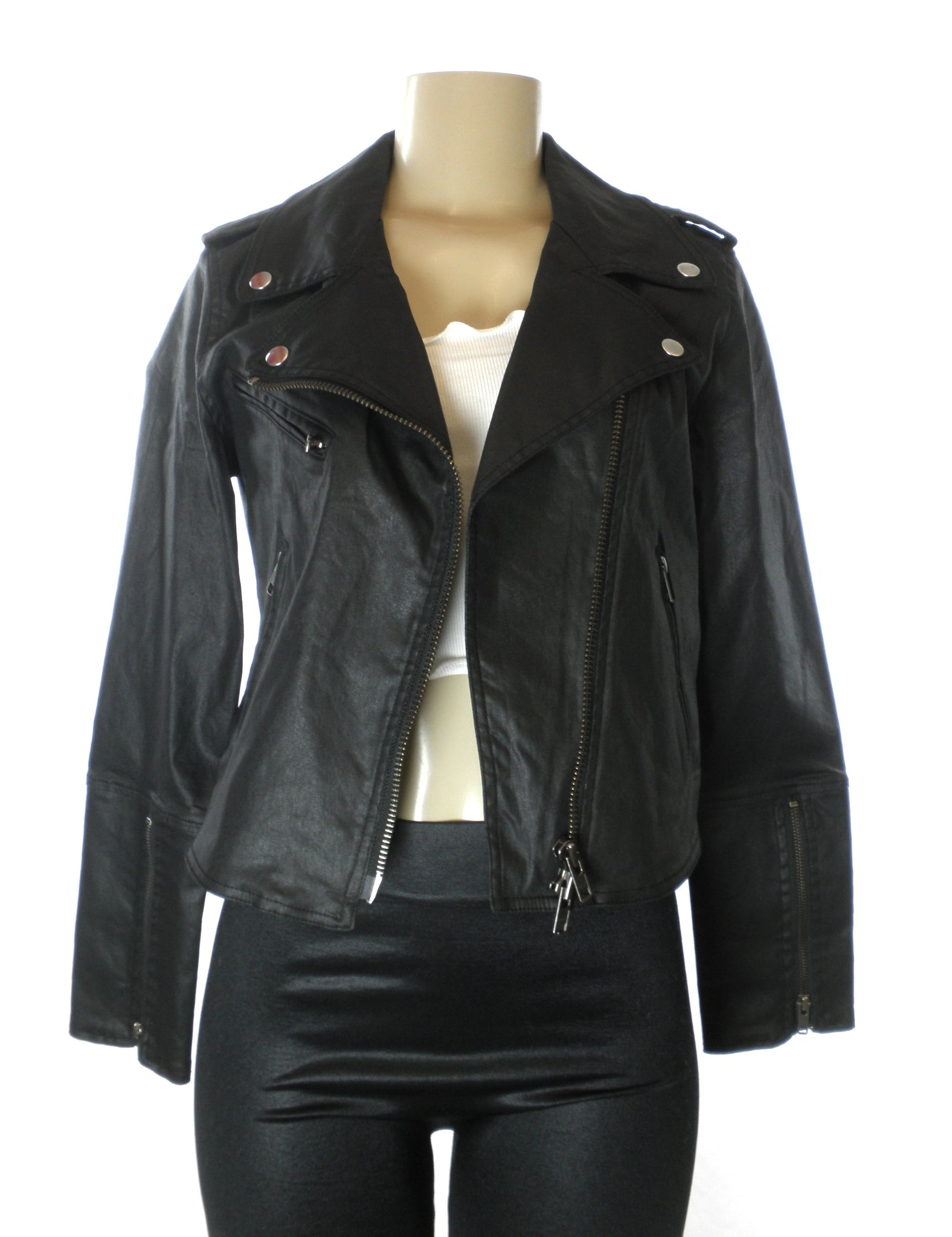 Rebecca Minkoff Black Faux Leather Jacket Size XS,S Donated From The Designer