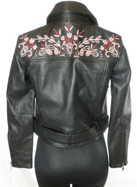 Rebecca Minkoff Floral Embroidered Leather Jacket - Size XXS, XS - The Fashion Foundation
