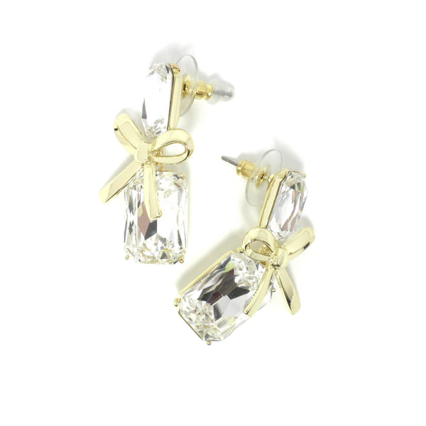 Stella & Ruby Gold and Silver Bow Gem Earrings - Donated From The Designer - The Fashion Foundation