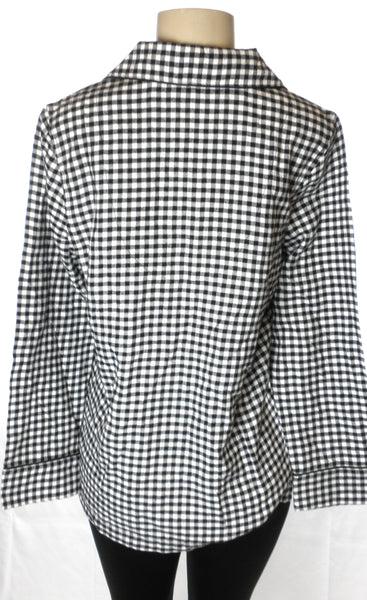 Chaps Black & White Gingham Flannel PJ Top - Size Small - The Fashion Foundation