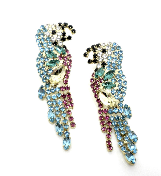 Stella & Ruby Multi Color Parrot Earrings - Donated From Designer - The Fashion Foundation