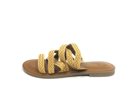 Faryl Robin Braided Mustard Yellow Strap Slide - Size 6 - The Fashion Foundation