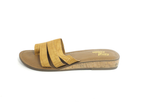 Faryl Robin Braided Mustard Yellow Crocodile Slide - Size 6 - The Fashion Foundation
