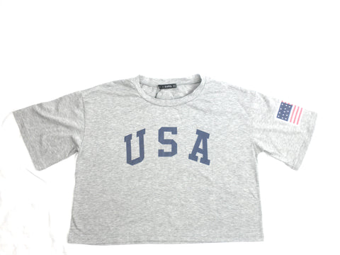 Zaful Grey USA T-Shirt - Size Large -  Donated From Designer