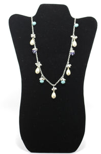Tri-Color Long Pearl Charm Necklace - Donated From The Designer