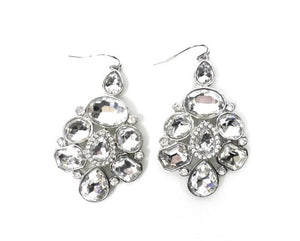 Multi Rhinestone Silver Earrings - Donated From Designer - The Fashion Foundation
