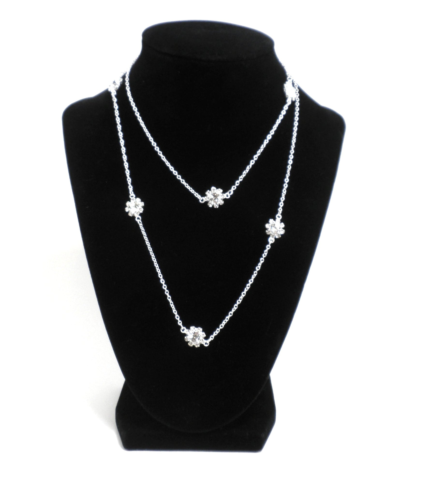 Silver Floral Rhinestone Necklace - The Fashion Foundation