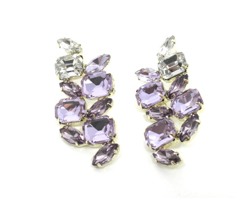 Stella & Ruby Purple and Clear Gem Earrings - The Fashion Foundation
