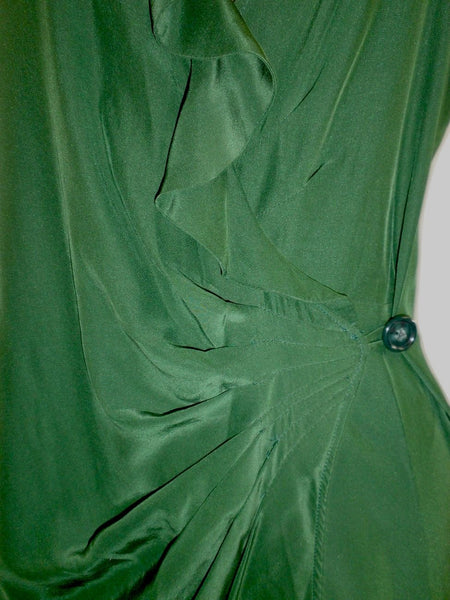 Parker Green Satin Wrap Dress - Size Small - New From Designer - The Fashion Foundation