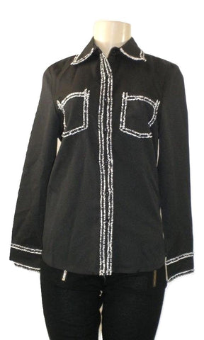 Cistar Black Top With Black and White Tweed Trim- Size Medium- Donated From the Designer