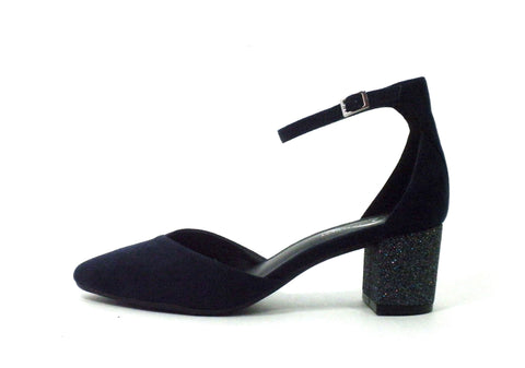 Aerosoles Navy Blue Suede Heel With Glitter Accent - Size 6 - Donated From The Designer