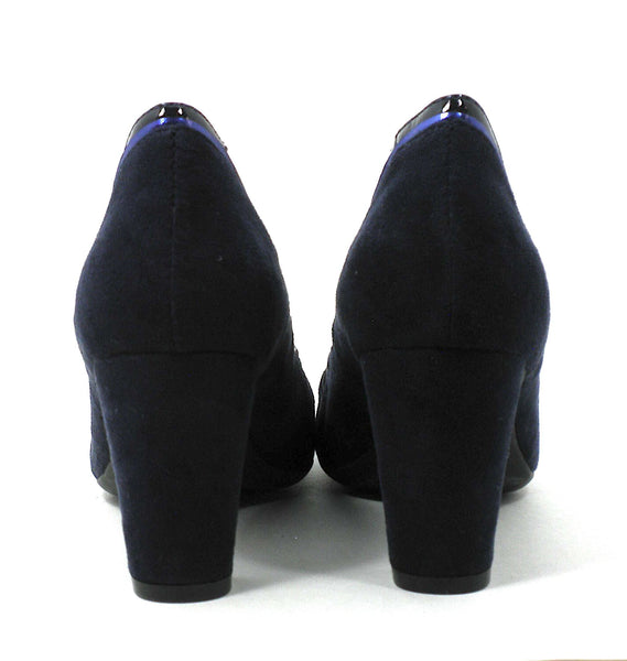 Aerosoles Navy Blue Suede Heel With Patent Leather Detailing  - Size 6 - The Fashion Foundation