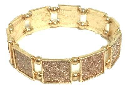 Gold Bracelet with Pink Glitter