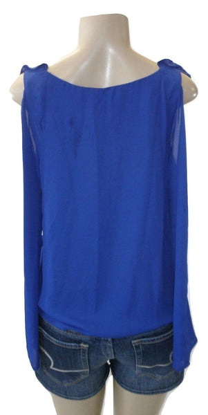Saks Fifth Avenue Ruffle Royal Blue Blouse - Size Extra Small & Small - New With Tags - The Fashion Foundation