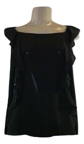 Saks Fifth Avenue Ruffle Black Blouse - Size Small - New With Tags - The Fashion Foundation