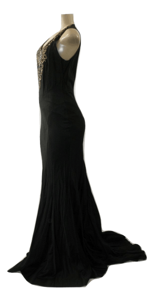 Lafayette 148 Black Gown With Embellished Detailing On Front- Size 2- Donated From The Designer
