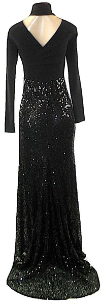 Lafayette 148 Black Halter Long Sleeve Sequin Gown- Size 2- Donated From the Designer