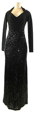 Lafayette 148 Black Halter Long Sleeve Sequin Gown- Size 2 - The Fashion Foundation