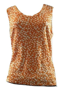 Lafayette 148 Orange and White Patterned Tank Top- Size Medium - Donated From The Designer - The Fashion Foundation