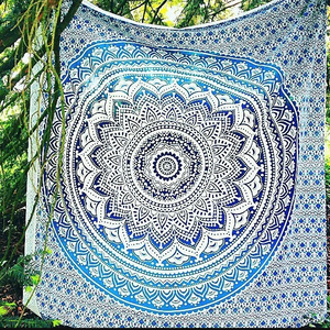 Blue Ombre Mandala Queen Throw