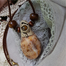 Load image into Gallery viewer, Cowrie Tan Marble/Tigers Eye Necklace