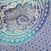 Load image into Gallery viewer, Blue Ombre Mandala Queen Throw