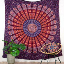 Load image into Gallery viewer, Merlot Peacock Mandala Queen Throw