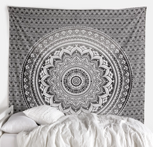 Load image into Gallery viewer, Black Grey Ombre Mandala Queen Throw