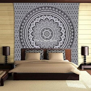 Black Grey Ombre Mandala Queen Throw