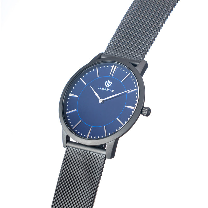 The Classic Gunmetal Blue Steel Mesh Watch