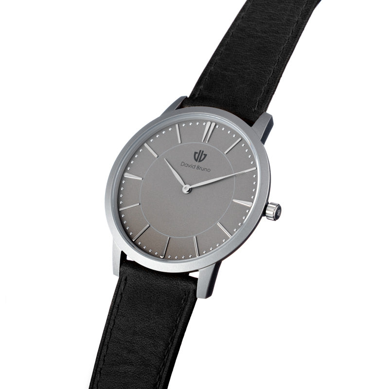 David Bruno silver grey with black genuine leather