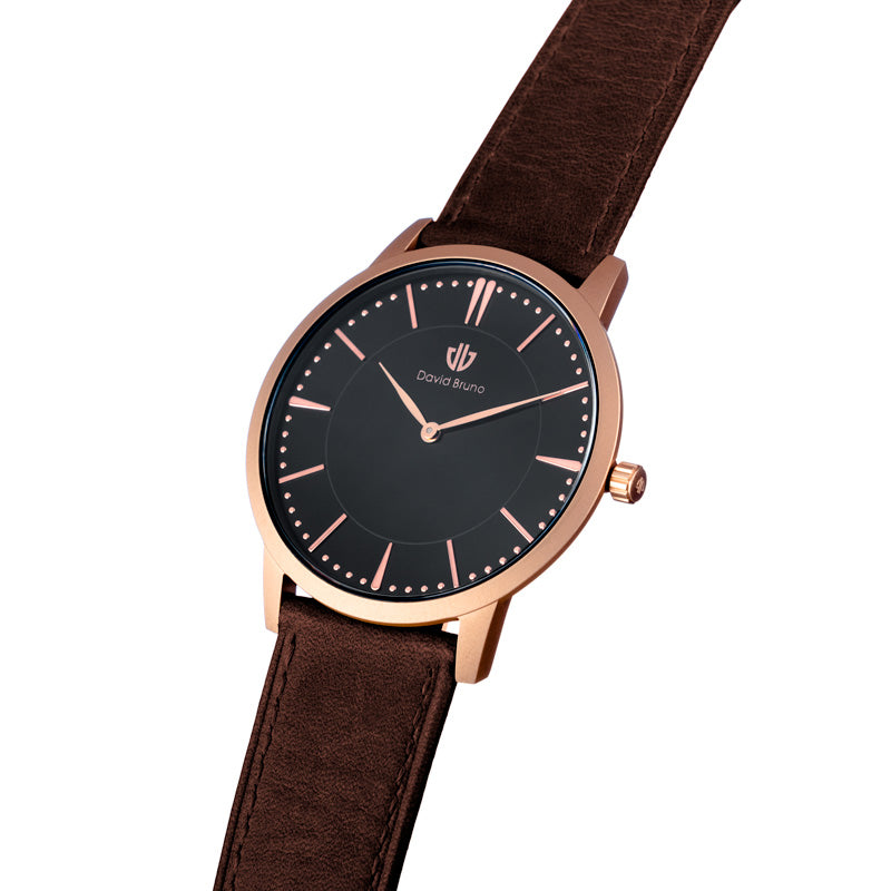 The Classic Leather Watch | Black & Rose Gold