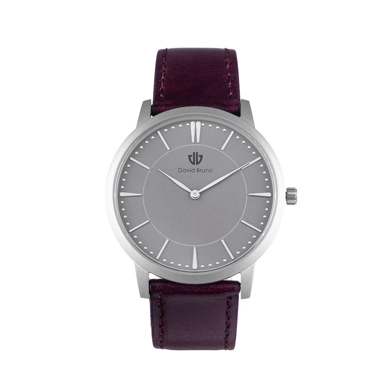 The Classic silver burgundy leather