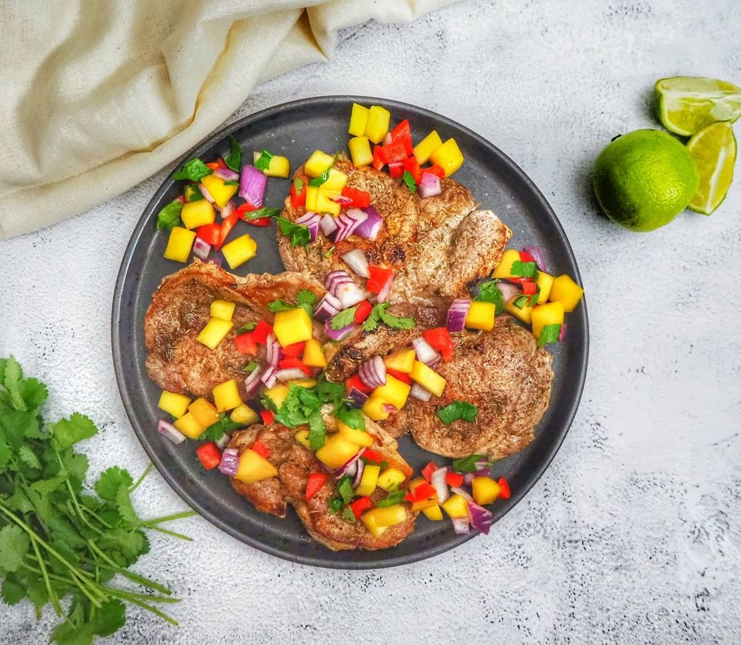 Caribbean Pork with Mango Salsa by The Mummy Diet