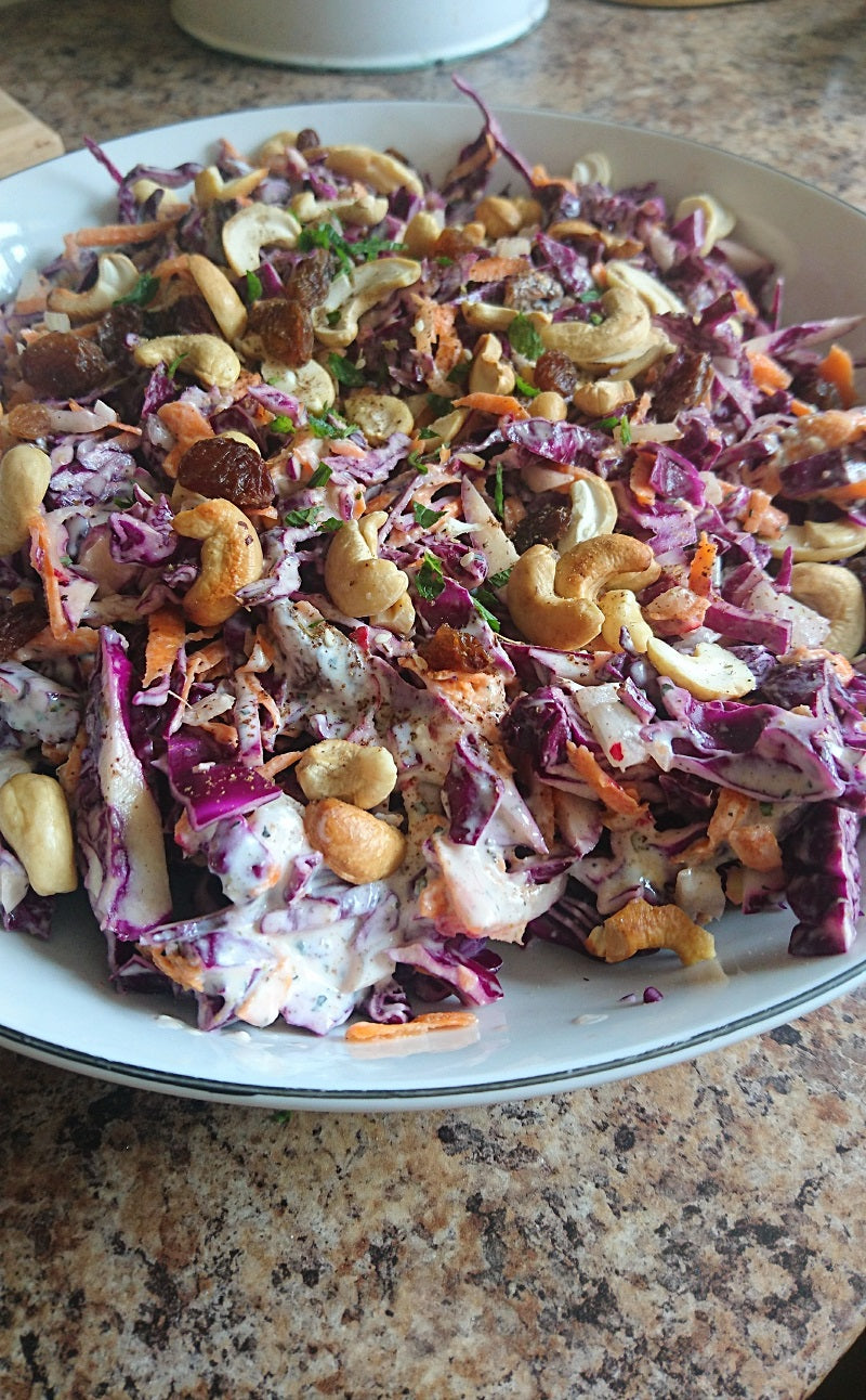 Middle Eastern coleslaw with cashews and za'atar - Spice Kitchen