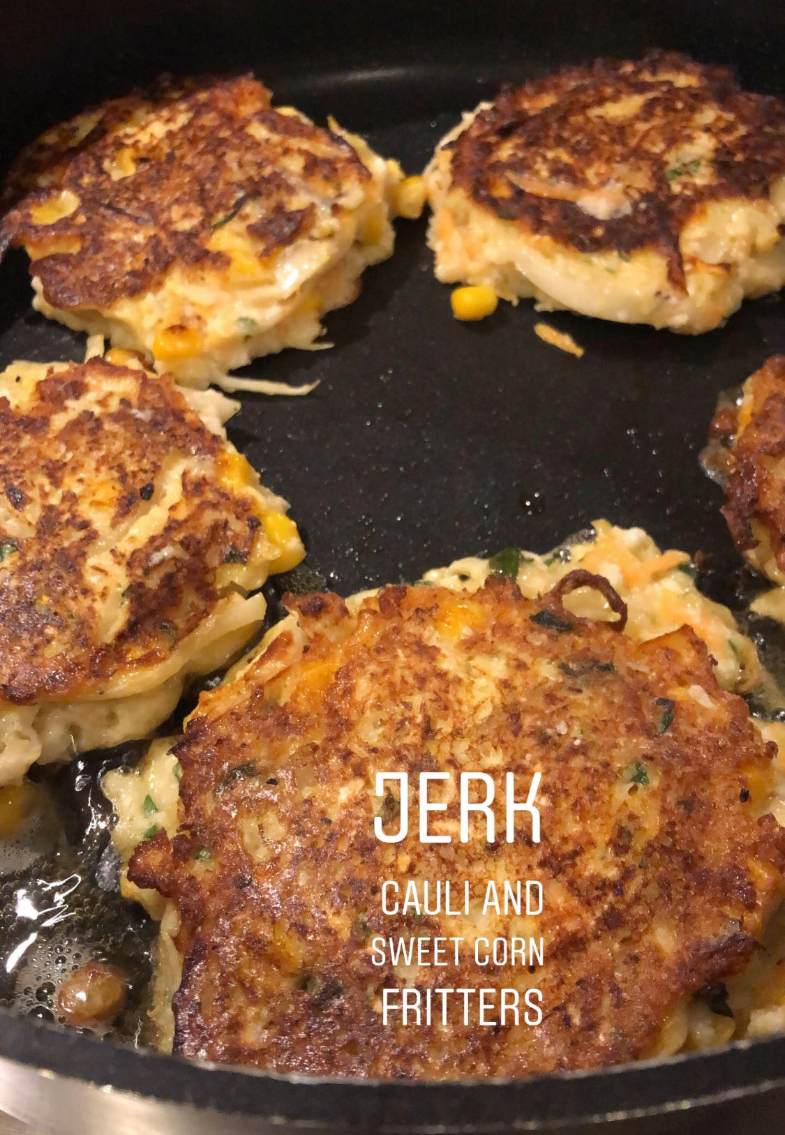 Jerk cauliflower and sweetcorn fritters