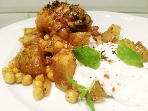 Zaatar Chicken with Harissa Chickpea and Potato Tray Bake by Zosima Fulwell