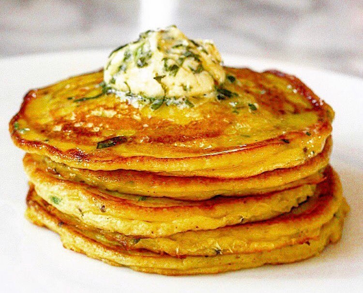 Bonda Pancakes |Spiced Potato Pancakes with a Fresh Coriander, Lime & Chilli Butter