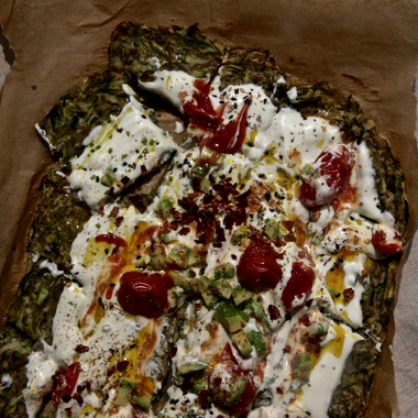 Courgette flatbread with sizzled yoghurt by Mira Manek