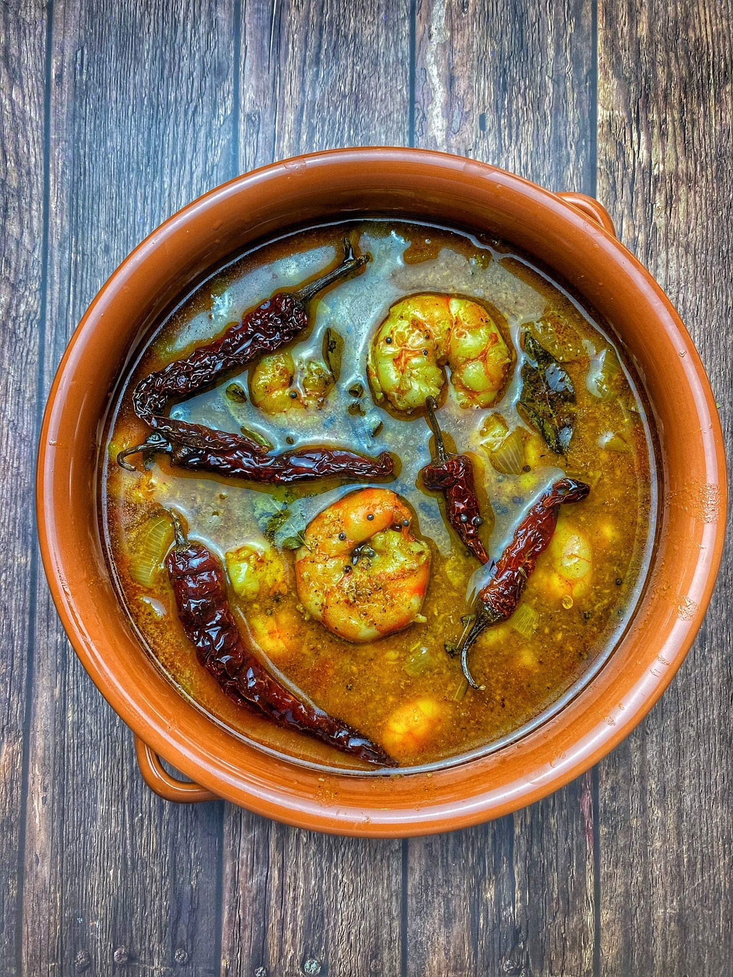 Chemmeen Ulli Theeyal (Kerala Style Prawn & Onion Curry)