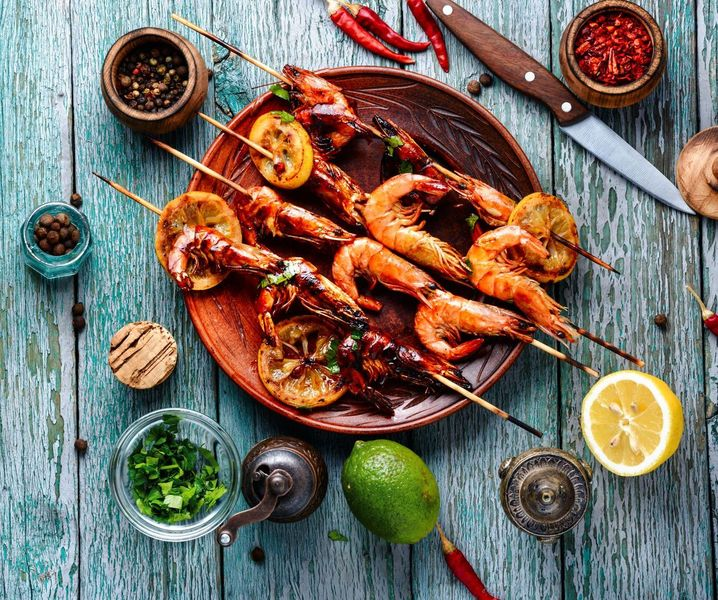 Grilled Prawns with Harissa
