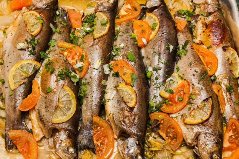 Baked Trout with Baharat, Tomato and Lemon
