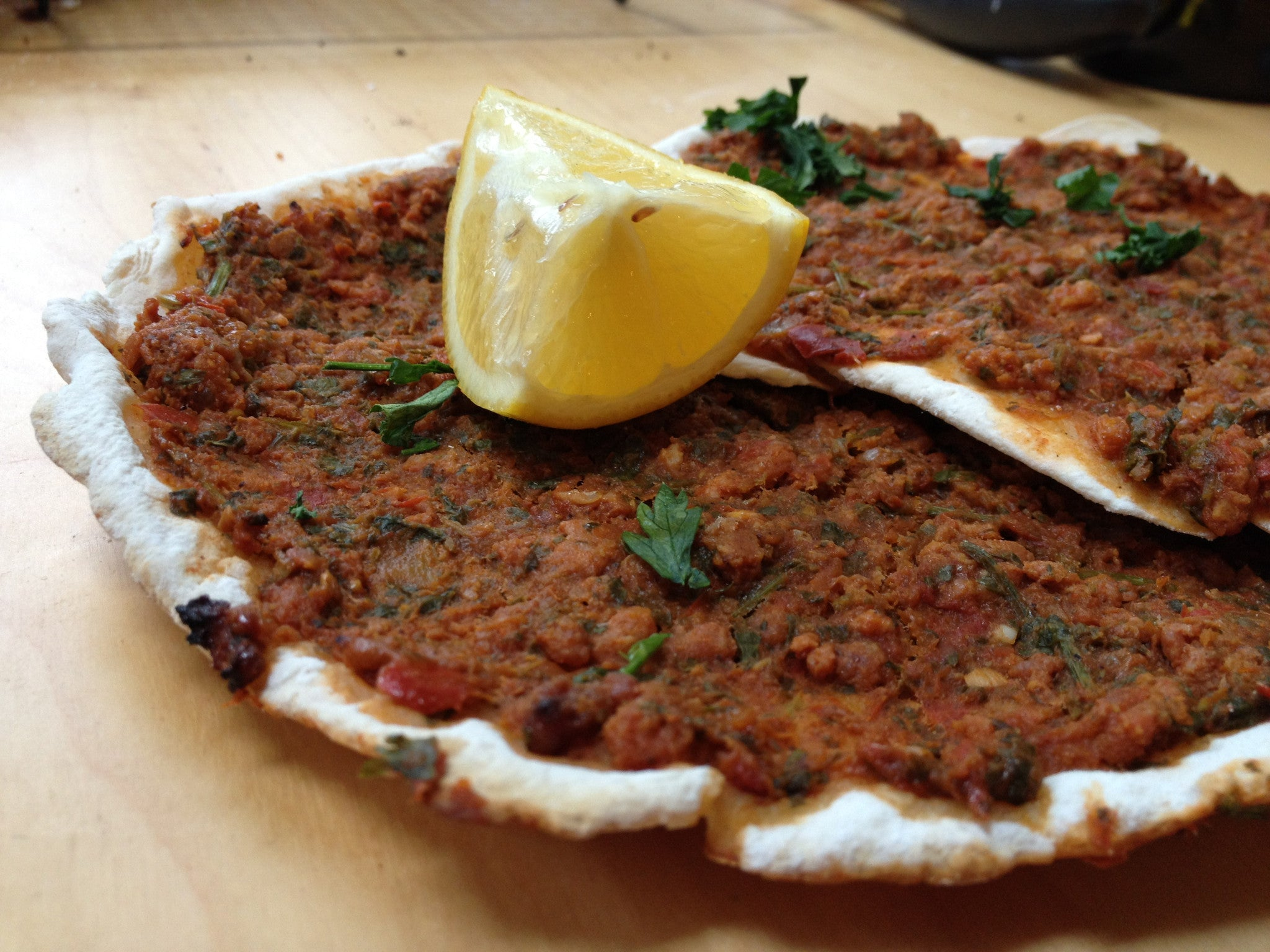 Lahmajoun (Turkish and Armenian pizza) by Arleen